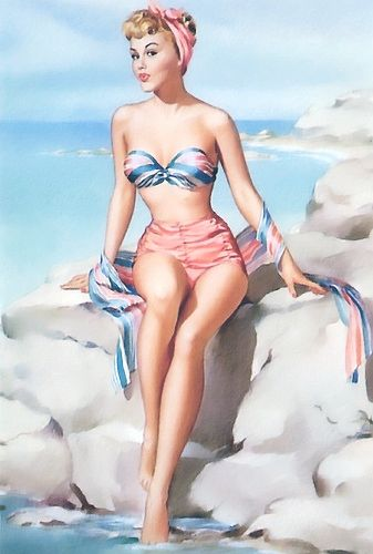 Vintage #pin-up girl, #summer, #beach, rocks
