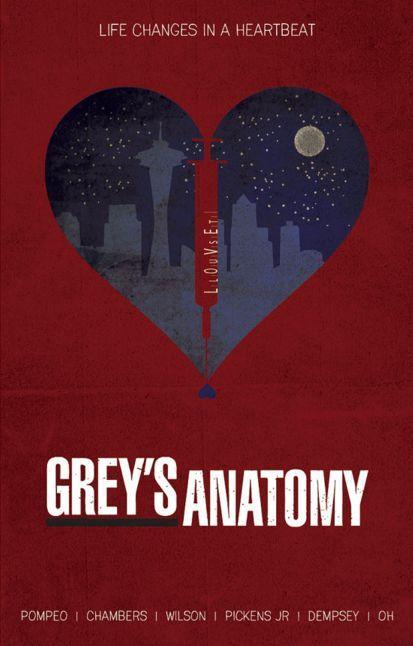 Grey's Anatomy (2005–) ~ Minimal TV Series Poster by Ryan Trapp #amusementphile