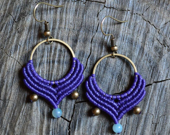 Macrame hoop earrings with amazonite and brass beads   Boho - Hippie macrame hoops