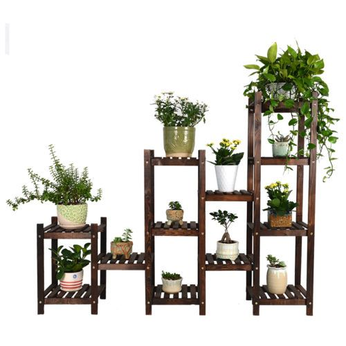 Wood-Shelf-Plant-Stand-Bathroom-Rack-Gardening-Planter-Holder-Carbonized