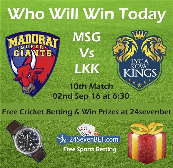 TNPL Cricket #Betting 10th Match Between #MSGvsLKK. Place Free Bet on Your Favourite Team & Win an Amazing #Prizes Online at 24sevenbet