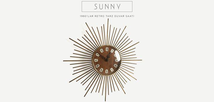 Sunny 1980ler retro tarz duvar saati | Sunny 1980s vintage sunburst clock