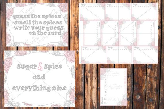 Bridal Shower- Sugar and Spice Game- Instant Download-