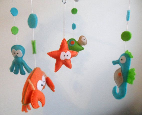 66 best fieltro bajo el mar images on pinterest under for Sea animal baby mobile