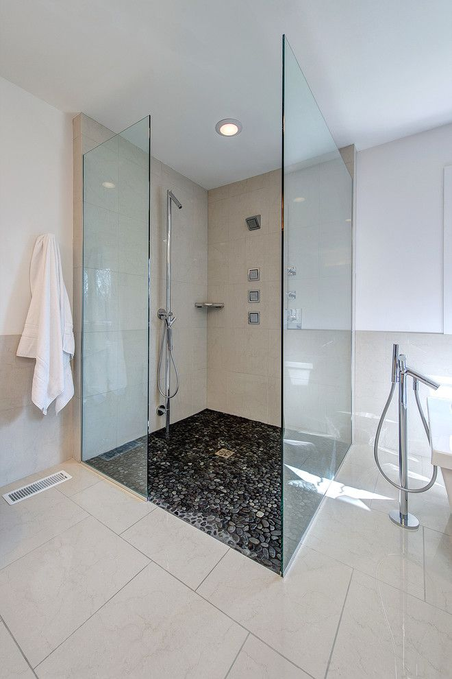 Top Black Pebble Stone Shower Floorpebble With Stone Flooring For Bathrooms