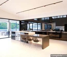 Minimalist gloss black kitchen design