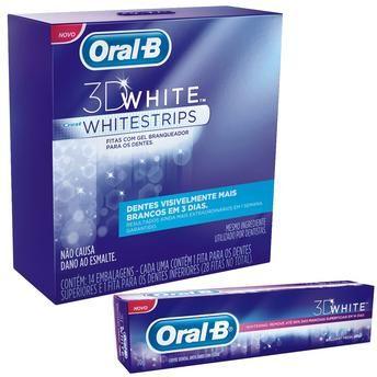 Fita dental branqueadora Whitestrips Oral B - 14 unidades Leve Creme Dental Oral-B 3D White 70 gramas