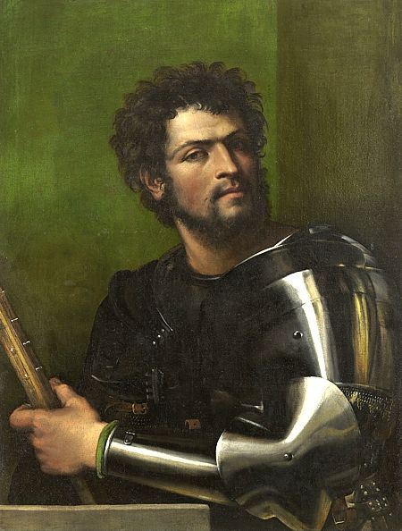Sebastiano del Piombo's Portrait of a man in armor, 1512 oil on canvas, 87.5 x 67.3 Hartford, CT Wadsworth Atheneum Museum of Art
