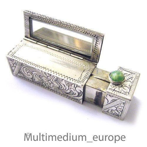 Art Deco Silber Lippenstift m Klapp spiegel 20er Jahre lip stick case box silver
