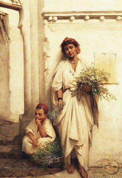 Peinture d'Algérie - Peintre Français, Hippolyte Lazerges (1817-1887), Huile sur panneau 1877, Titre : Vendeuse de fleurs