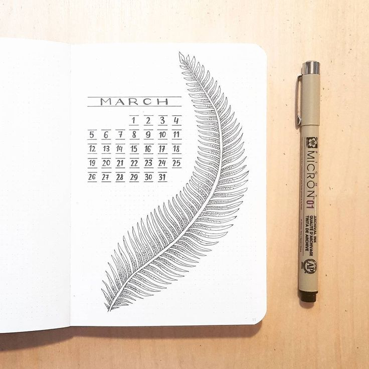 Bullet journal monthly cover page, March cover page, feather drawing. | @dotted.v