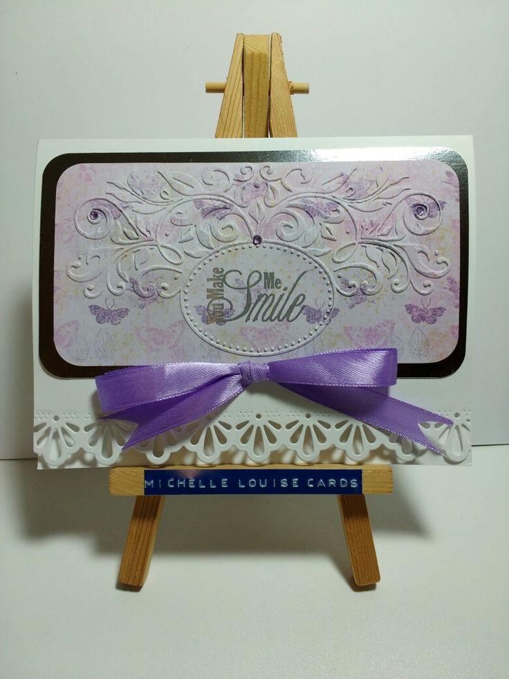 Embossing folder, die cut edge, purple ribbon