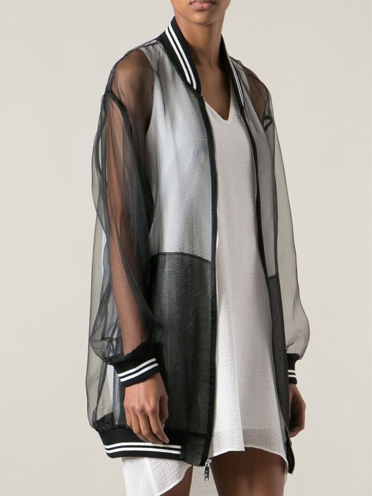 Dkny Transparent Bomber Jacket in Black | Lyst