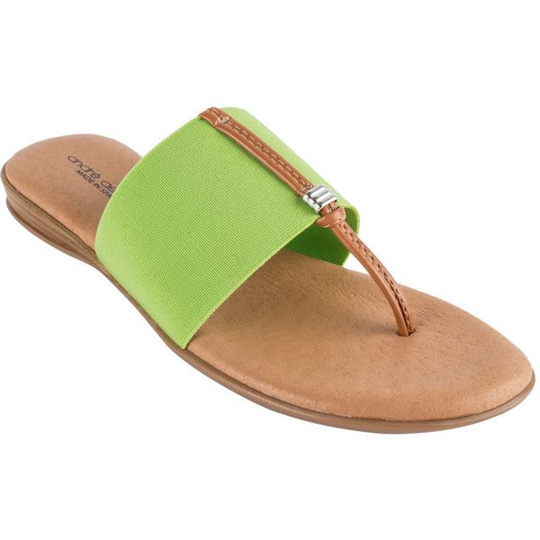 Andre Assous Nice Women's Green Slip On 6 M ($89) ❤ liked on Polyvore featuring shoes, sandals, green, wedges shoes, green leather sandals, green wedge shoes, leather wedge shoes and leather shoes