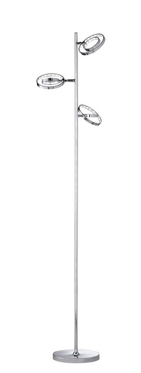 Prater lattiavalaisin LED 3x4 W kromi    Lampun tyyppi: 3 × LED 4 W LED (sis.toimitukseen)  Jännite: 230V  Valoteho: 3 x 390 lumenia  Valon sävy: 3000 kelviniä (lämmin valkoinen)  Kotelointiluokka: IP20 (kuivaan tilaan)  Rungon materiaali: Metalli  Rungon väri: kromi  Korkeus: 140 cm  Halkaisija: 34 cm  Valaisimessa jalkakytkin  Takuu: 5 vuotta