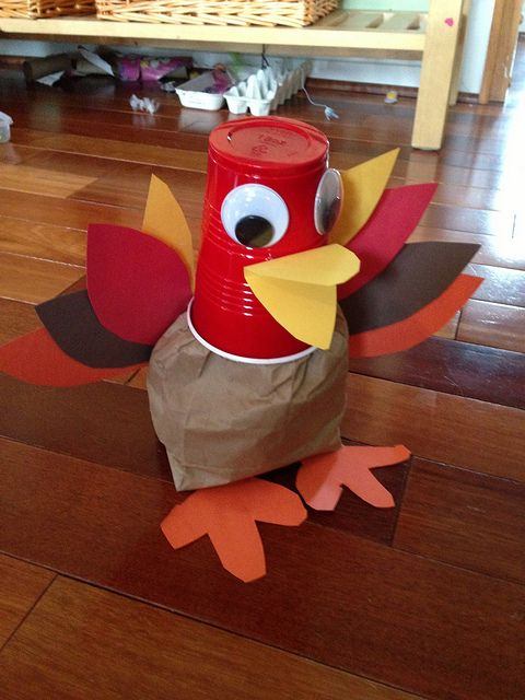 Red solo cup turkey decoration. Get out the hot glue gun:) I couldn't think of how to make his head and voila, red solo cup craft.