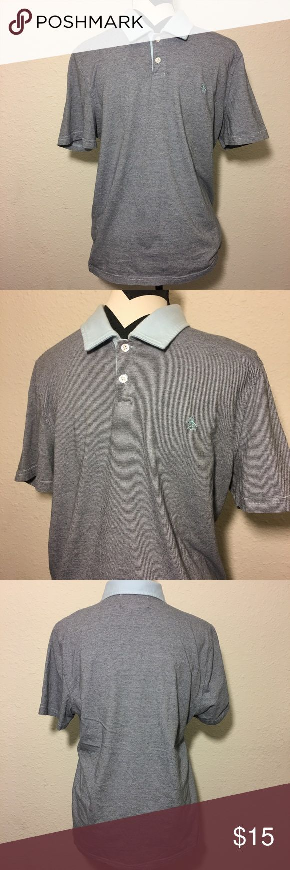 "Men's original penguin polo shirt Men's original penguin polo shirt ,pinstriped navy and cream the collar is Light blue - missing care tag) Approximate measurements are made flat and not stretched  Chest 20 1/2"" - sleeves 8 1/2"" - Length 26 1/2"" Original Penguin Shirts Polos"
