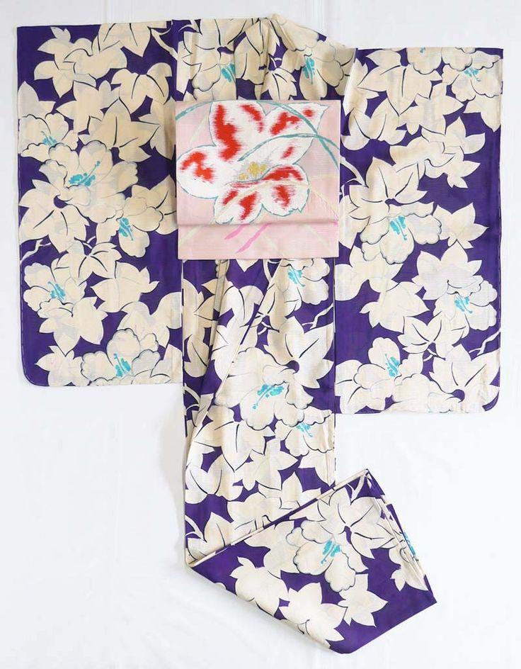 【絽】大胆!一面の芙蓉の花*アンティーク着物 - キモノ倉庫293