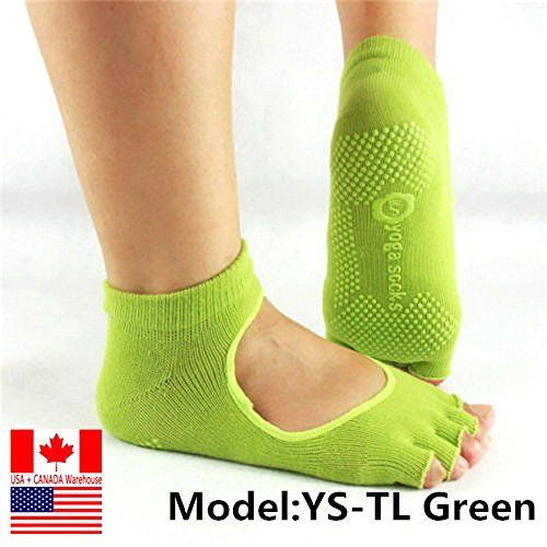 Toeless No Show Socks Yoga Pilates Sock Grips 1/2 TOE (Green) ** For more information, visit image link.