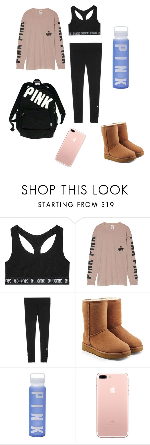 """Cute Sporty School Outfit"" by makeupisnatural ❤ liked on Polyvore featuring Victoria's Secret, UGG, school, ugg, Victoriasecret and VictoriaSecretPink"