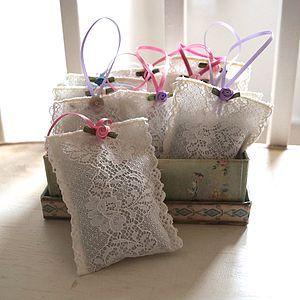 Lavender Bags. Great idea for needle lace motifs.