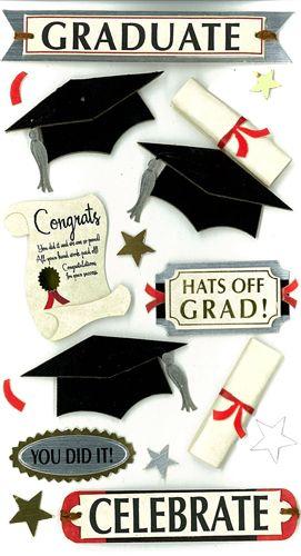 EK Success - Jolee's Boutique - 3 Dimensional Stickers with Foil Accents - Graduation Celebrate