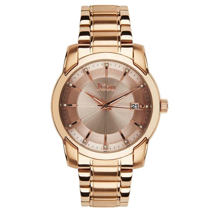 Ρολόι Jcou της σειρά Sunlight από ροζ επιχρυσωμένο ανοξείδωτο ατσάλι. Το καντράν είναι μπρονζέ με ροζ χρυσούς δείκτες και σημεία. #tasoulis_jewellery #watches #jcou #jcouwatches #fashion #style #women #bronze #gold #rosegold
