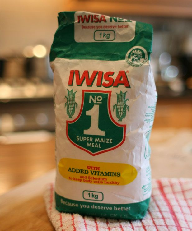 Traditional South African 'stywe pap with sheba' - Iwisa maize meal. This is like Italian polenta or cornmeal in the USA