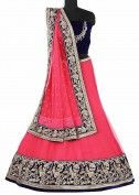 Rani pink net lehenga with antique border by Kalki