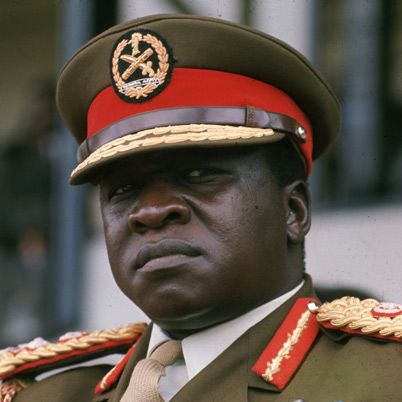 Idi Amin -Amin overthrew the current leader in 1971 and declared himself president, and he remained in power from 1971-1979. During his tenure, he lived a lavish lifestyle while contributing to the collapse of Uganda's economy. He sought to stay in power at all costs, resulting in extensive human rights violations via mass killings. Overthrown in 1979,