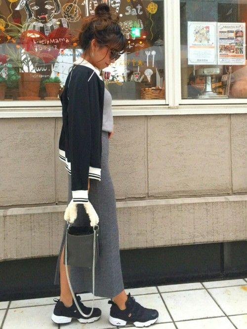 UNIQLOのリブスカートはグレーも購入◎ 履きやすさ1番👏 outer のジャージは古着屋で40