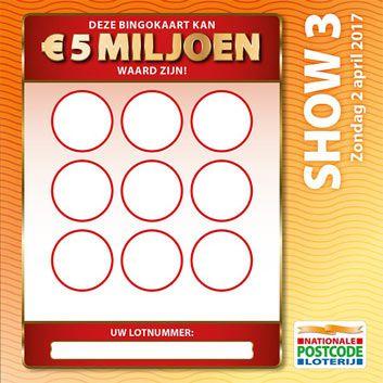 Bingo gratis mee voor miljoenen bij de Postcode Loterij! Speel de eerste maand gratis mee en win als bingowinnaar hetzelfde bedrag als de studiofinalist