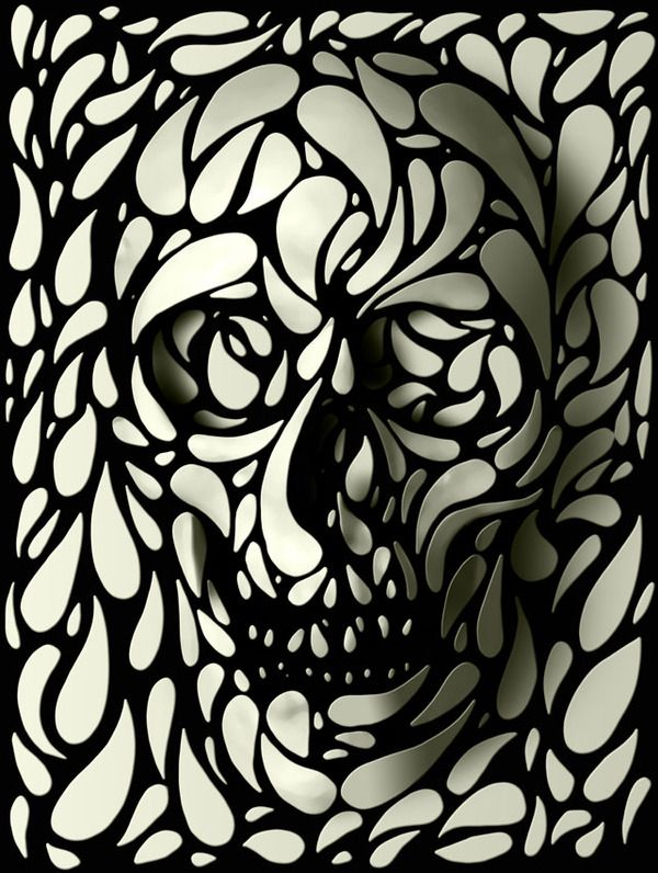 Skulls With A Twist by ali gulec, via Behance.     This would make a badass tattoo!