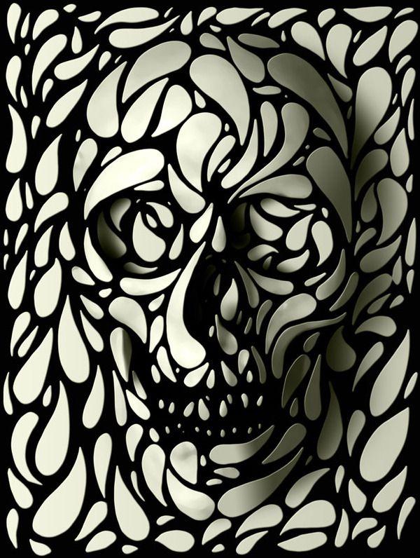 Skulls With A Twist by ali gulec, via Behance.     This would make a badass tattoo!
