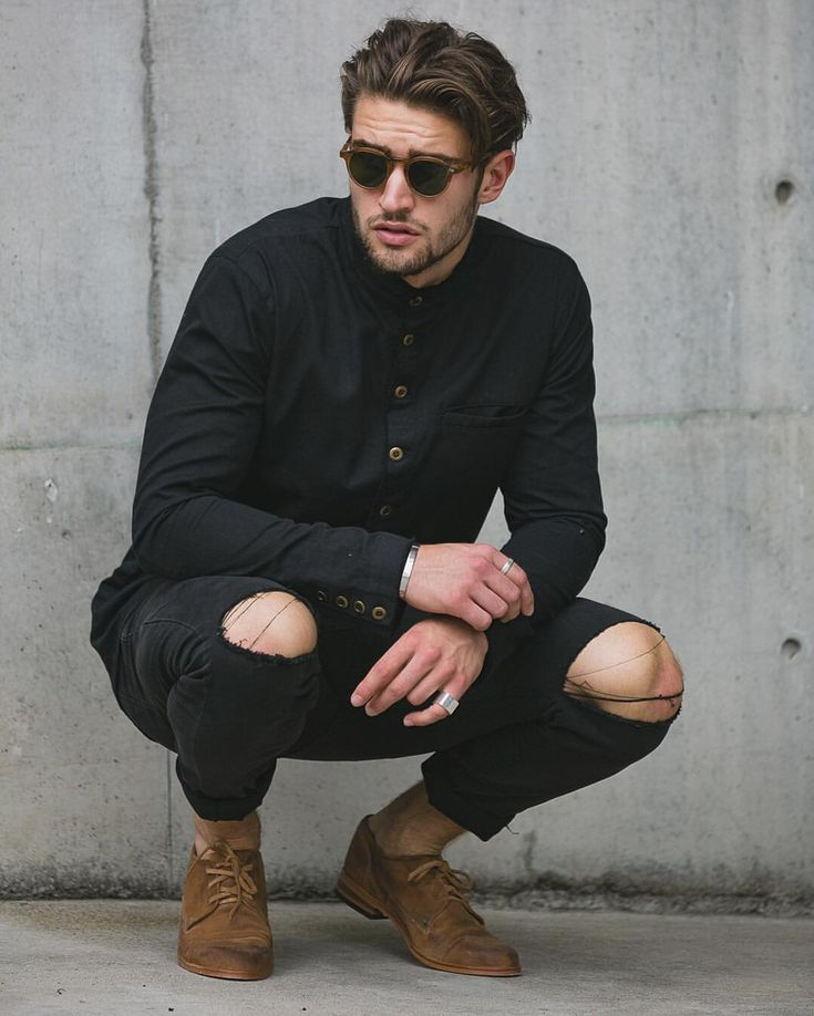 """ANNEX - Menswear Brand on Instagram: """"The'Bromley' shoe in Chestnut. With our 'Chaplin' black ripped denim and 'Nevermind' Shirt #annexbrand #shoes #premium #shirting #moscot #bondi #summer"""""""