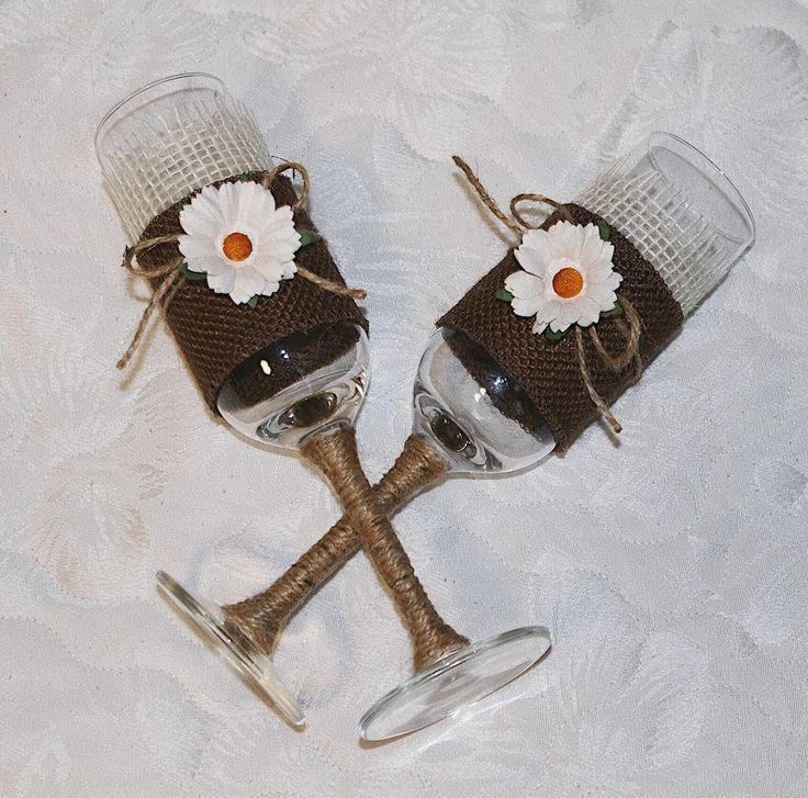 Бокалы #эко #рустик #ромашковаясвадьба #свадьба #ромашки #бокалы #свадебные