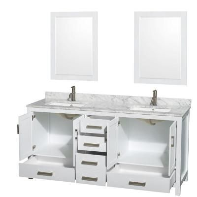 Wyndham Collection Sheffield 70 in. Double Vanity Cabinet with 24 in. Mirrors in White-WCS141472DWHCXSXXM24 - The Home Depot