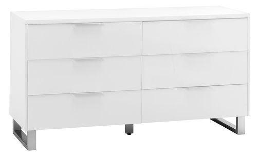 Byrå 3+3 lådor STEGE högglans vit | JYSK