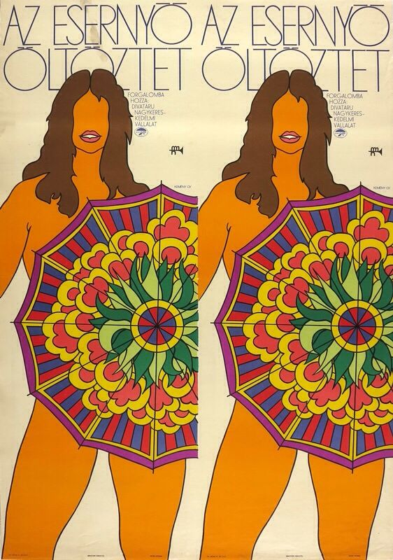 Kemény György: Nude with umbrella. Famous commercial poster from 1969.