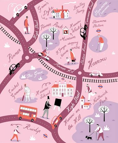 David Hitch map of Harrow and Pinner for TFL via www.arenaillustration.com