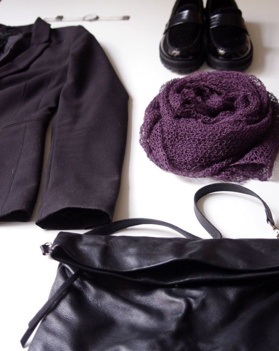 SALE. Purple rain. Hand knitted scarf  from natural linen.   Ready to ship.