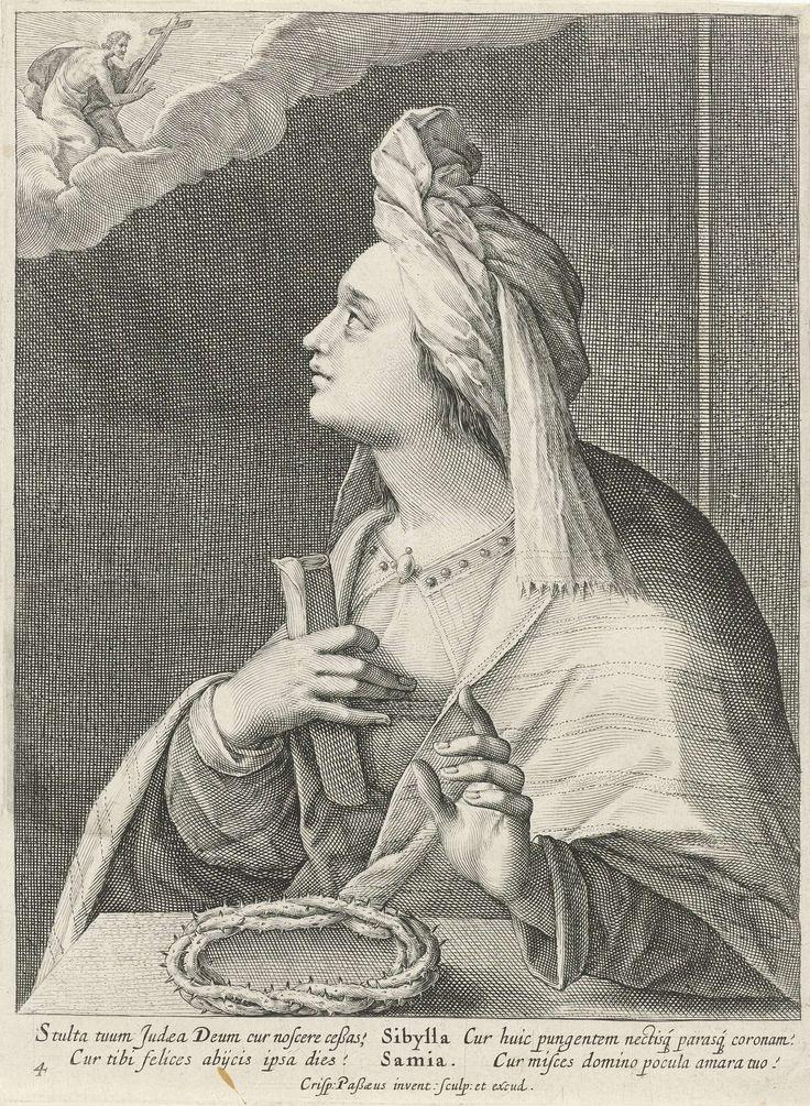 Crispijn van de Passe (I) | Sibille van Samos, Crispijn van de Passe (I), 1615 | De Sibille van Samos zit aan een tafel en kijkt op naar de hemel waar Christus met het kruis verschijnt. In haar rechterhand houdt ze een opgerold vel papier. Op de tafel ligt een doornenkroon. In de marge een onderschrift in het Latijn. Prent uit een serie met sibillen.