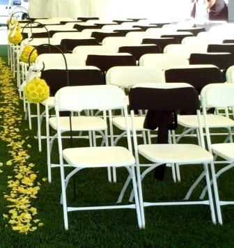 Amazing White Folding Chair With Alternating Color Sash