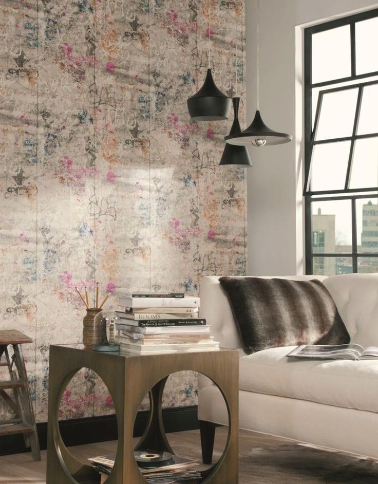 startling modern wallpaper designs. Graffiti  in imaginative designs and startling hues can bring life to drab cityscapes So too this unique varicolored wallpaper which resembles urban 36 best Loft loft style images on Pinterest