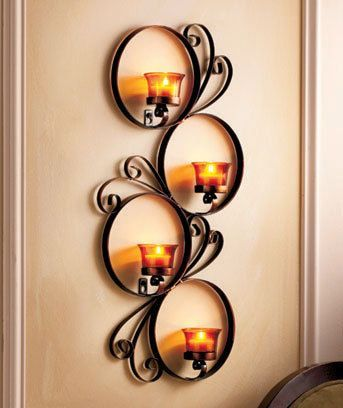 metal wall candle sconce scroll circle design holds 4 tea lights almost tall