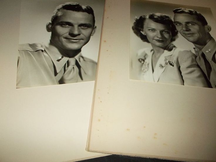 Lot 2  Vintage Large Photographs Military Army Husband & Wife Studio Framed B/W