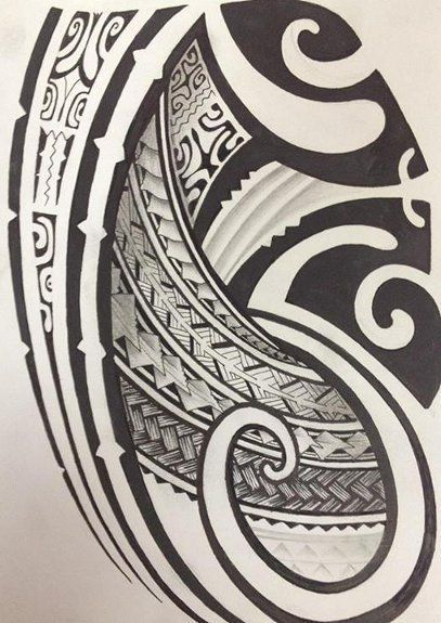 croquis pour tattoo de mod u00e8le polyn u00e9sien maori rempli avec