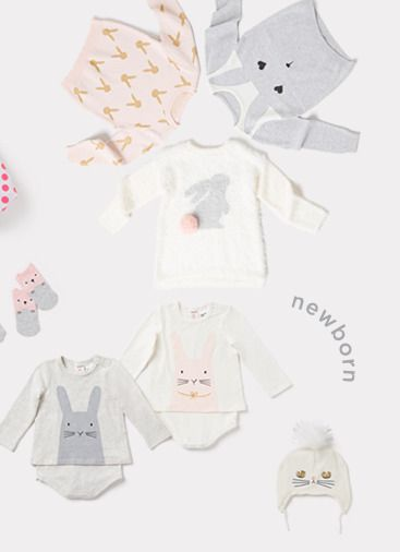 baby clothes with bunny motif. perfect for easter and springtime, of course, but we rock bunnies all year long.