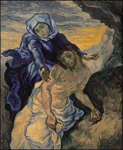 Vincent Van Gogh  피에타  캔버스에 유채,  73x60.5 cm반 고흐 미술관 소장    인상파 대가인 반고흐의 초기작품    초기작품이지만 전성기의 격정적인 붓터치가 조금씩 보이기도 한다.    종교적인 색채가 거의 드러나지 않는 그의 작품세계지만 초기에 들라크루아의 판화를 모사하며 연습했던거 같다.    예수님의 노란 색채와 마리아의 푸른 색채가 들라크루아의 보색이론을 충실히 연습한 것으로 보인다.