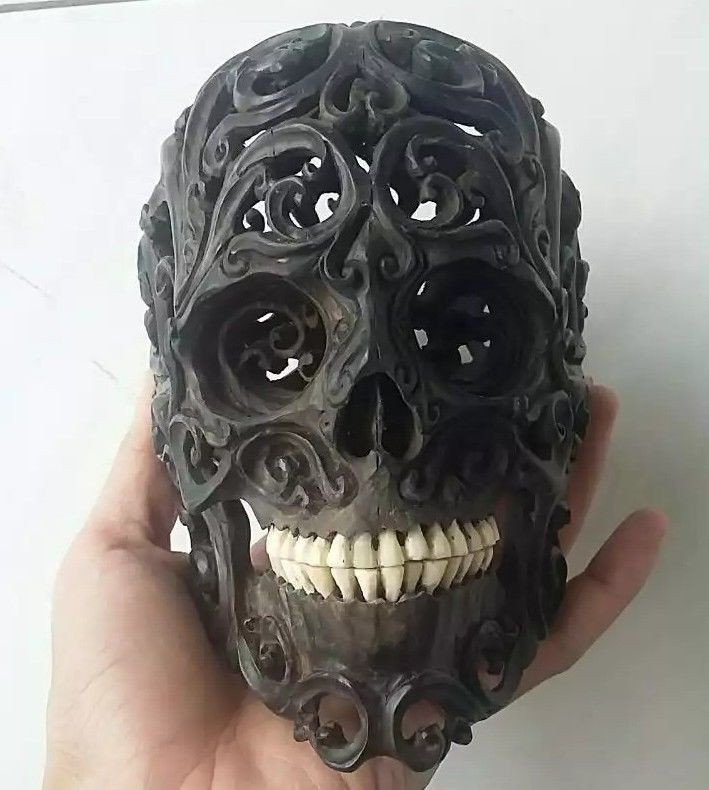 Hand Carved 7 inch Human Skull Tribal Natural Wood Carving #WCA02